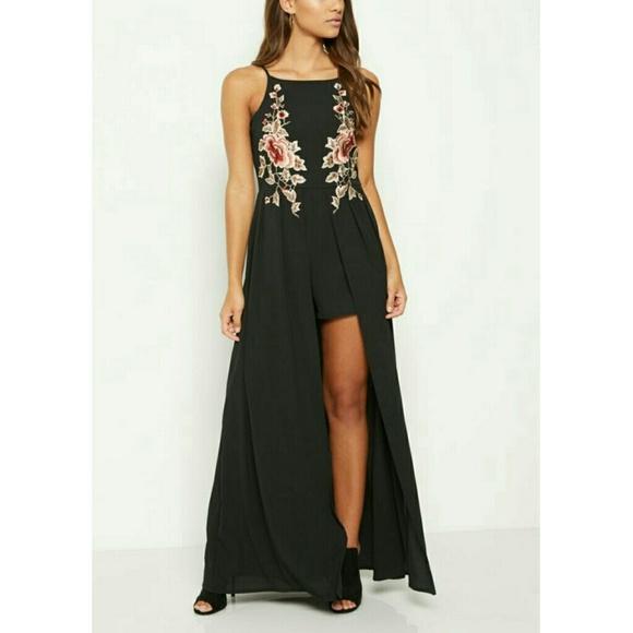 b01a27f925d9 Rue 21 black floral maxi romper dress